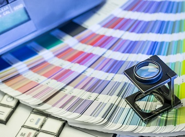 Color,Management,In,Printing,Process,With,Magnifying,Glass,,Color,Swatches